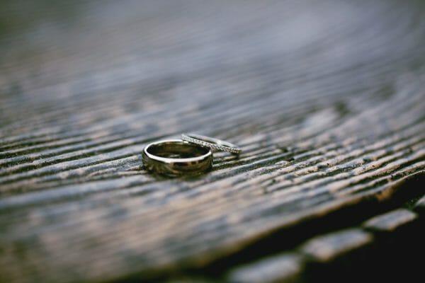Wedding rings lying on table