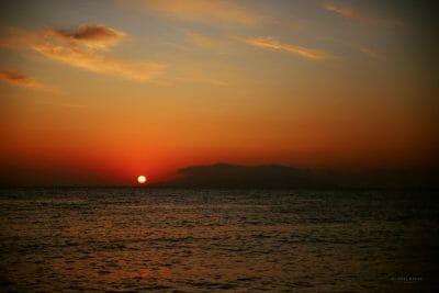 Travel Photography Santorini Greece Kamari Beach sunrise